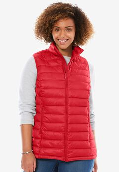 Packable puffer vest, CORAL RED, hi-res
