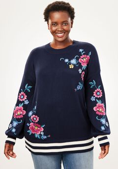 Floral Embroidered Blouson-Sleeve Sweater,