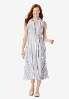 Striped Linen Sleeveless Shirtdress,