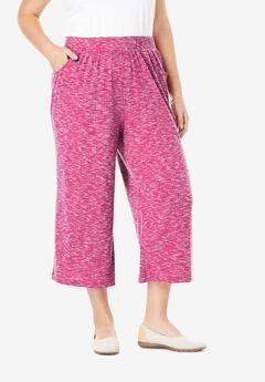 Elastic-Waist Rib-Knit Cullottes,
