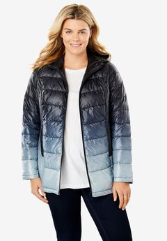 Packable Puffer Jacket, BLACK OMBRE