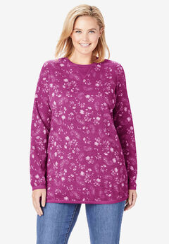 Thermal Sweatshirt, RASPBERRY PAINTED PAISLEY