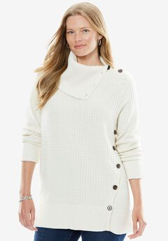 Button-Neck Sweater, IVORY