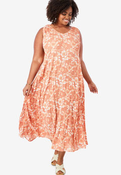Sleeveless Crinkle A-Line Dress, TEA ROSE GRAPHIC FLORAL