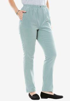 Comfort Waist Straight Leg Corduroy Pant, GREY SAGE, hi-res