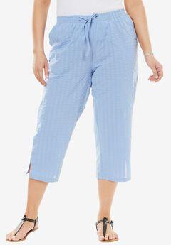 Seersucker capri pants, FRENCH BLUE, hi-res