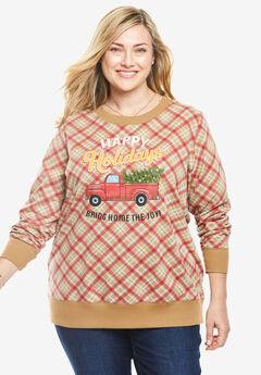 Fleece Holiday Sweatshirt, HAPPY HOLIDAY