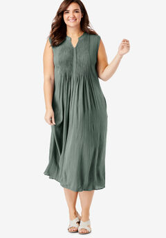 Sleeveless Pintuck Crinkle Dress, PINE