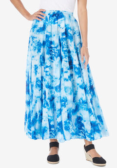 Pull-On Elastic Waist Printed Skirt, BRIGHT COBALT PRETTY TIE DYE