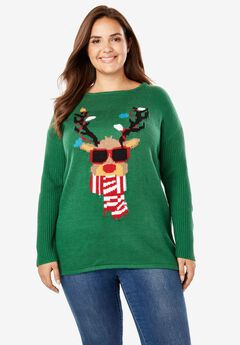 Holiday Pullover Sweater, EMERALD REINDEER