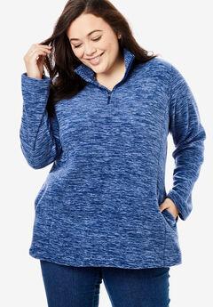 Quarter-Zip Microfleece Pullover, EVENING BLUE MARLED
