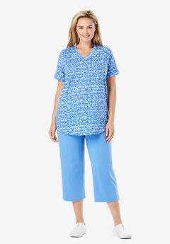 Two-Piece V-Neck Tunic & Capri Set,