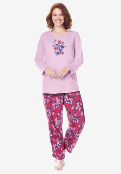 Long Sleeve Knit PJ Set by Dreams & Co.®, STRAWBERRY ROSE