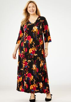 Maxi T-Shirt Dress with Princess Seams, BLACK FLORAL BOUQUET