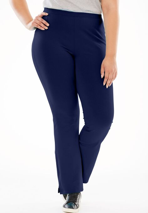 Stretch Cotton Bootcut Yoga Pant Plus Size Tall Woman Within