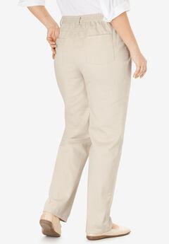 Back-Elastic Straight Leg Cotton Jean, NATURAL KHAKI