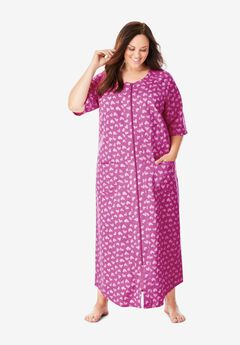 Long French Terry Zip-Front Robe by Dreams & Co.®, ROSEBUD STRIPED HEARTS