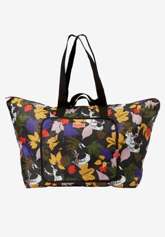 4-piece packble tote set, BLACK SCATTERED LEAVES, hi-res