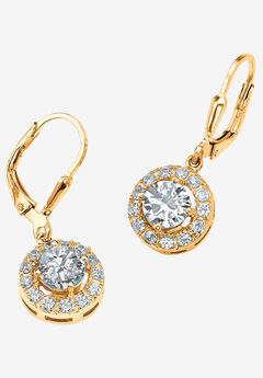 Gold over Sterling Silver Round Halo Drop Earrings Cubic Zirconia,