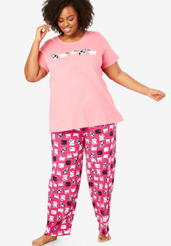 Graphic Tee PJ Set by Dreams & Co®, RASPBERRY SORBET DOGS