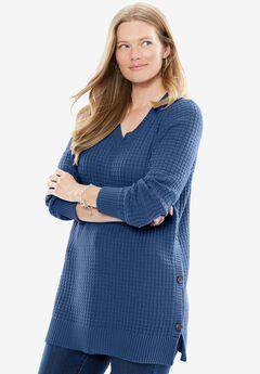 Side Button V-Neck Waffle Knit Sweater,