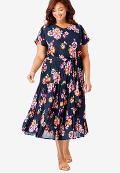 Tiered Belted Crinkle Dress, NAVY PAINTED FLORAL