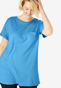 Short-Sleeve Crewneck Longer Length Tee,