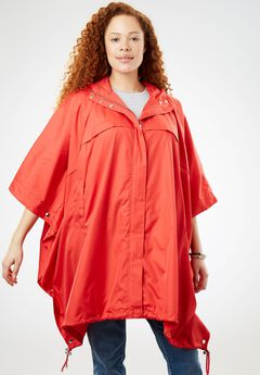 Packable water-resistant rain cape with zip top bag,