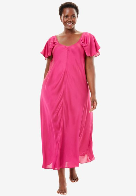 Long Luxe Satin Flutter-Sleeve Nightgown by Amoureuse® | Plus Size ...