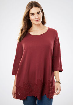 Lace applique tunic, ANTIQUE MAROON, hi-res