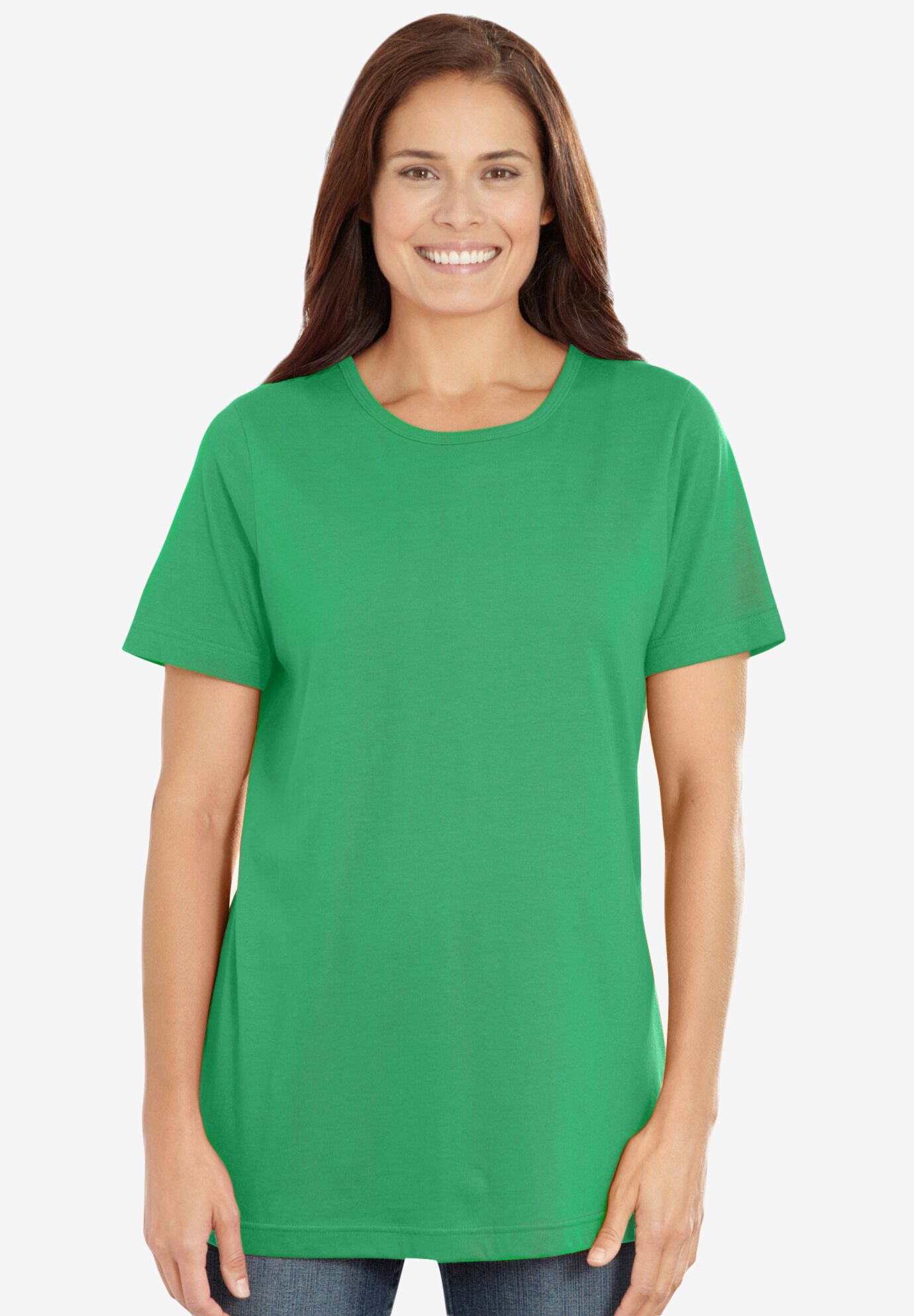 Woman Within Womens Plus Size Perfect Henley Long Sleeve Tee