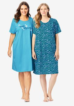 2-Pack Short-Sleeve Sleepshirt by Dreams & Co.®, DEEP TEAL SWEET DREAMS