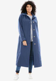 Water-Resistant Long Trench Coat, ROYAL NAVY, hi-res