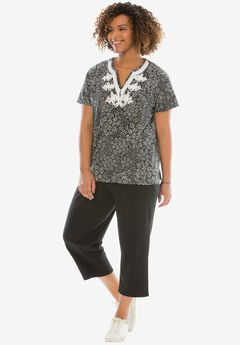 2-piece kurta tunic set, BLACK DAISY PATCH, hi-res