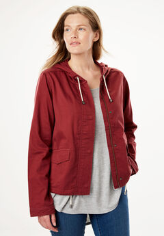 Boxy Utility Jacket, ANTIQUE MAROON, hi-res
