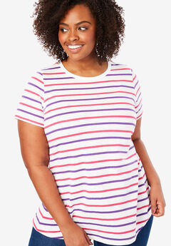 Perfect Crewneck Printed Tee, PLUM BURST MULTI STRIPE
