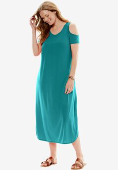 Cold-Shoulder A-Line Dress, TROPICAL TEAL, hi-res