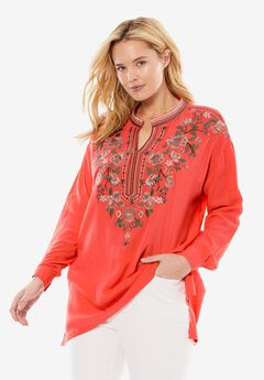 Notch-Neck Embroidered Roll-Sleeve Tunic, CORAL ROSE FLORAL EMBROIDERY, hi-res