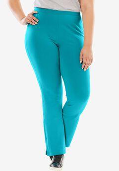 Stretch Cotton Bootcut Yoga Pant, VIBRANT TURQ, hi-res