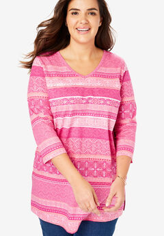 673b4445a70 Perfect V-Neck Three-Quarter Sleeve Tunic