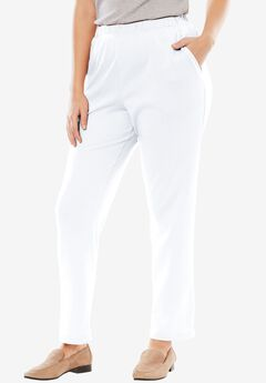 7-Day Knit Straight Leg Pant, WHITE, hi-res