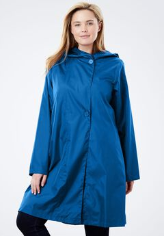 Packable water-resistant hooded raincoat with zip bag, BRIGHT COBALT