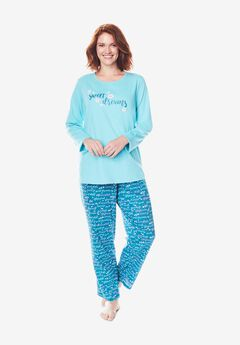 Long Sleeve Knit PJ Set by Dreams & Co.®, DEEP TEAL SWEET DREAMS