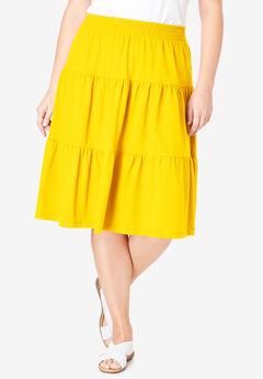 Jersey Knit Tiered Skirt, BRIGHT DAFFODIL