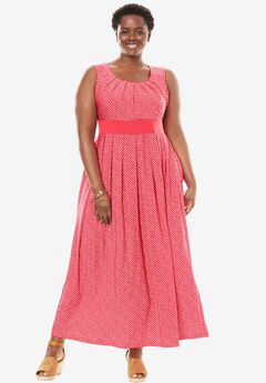 Dress, with polka dots in maxi length, CORAL RED DIAGONAL DOT, hi-res