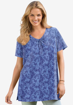 Perfect Printed Short-Sleeve Shirred V-Neck Tunic,