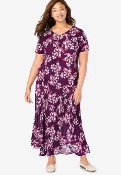 Crinkle Dress, DARK BERRY LEAFY FLORAL