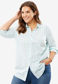 Perfect Button Down Shirt, FRESH AQUA GINGHAM, hi-res