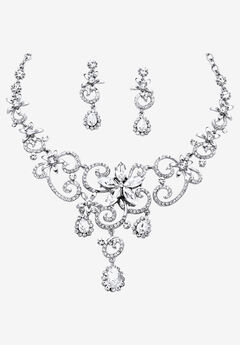 Silver Tone Swirl and Flower Bib Necklace and Bracelet Set, Crystal,