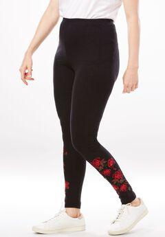 Stretch Cotton Embroidered Legging, , hi-res